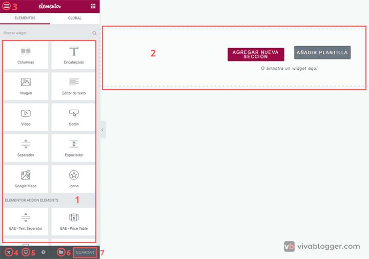 interfaz elementor page builder