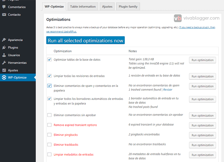 configuración wp-optimize en wordpress