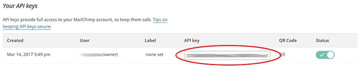 api key mailchimp