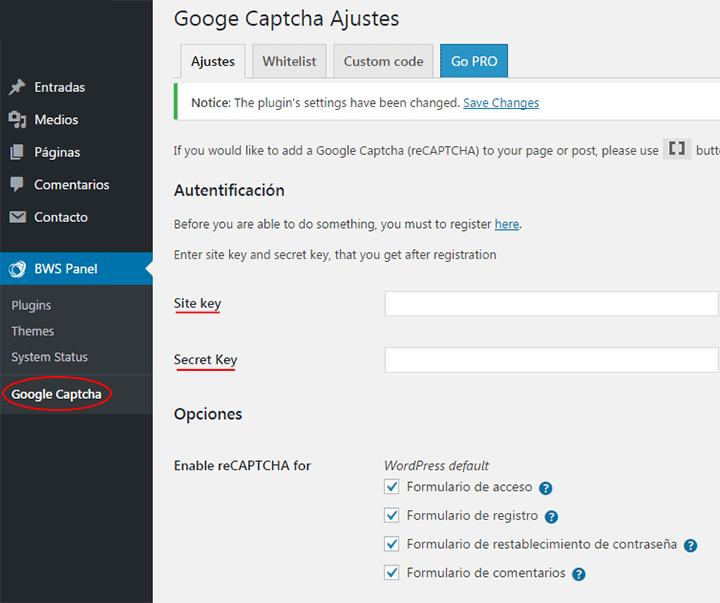 configurar google recaptcha con un plugin