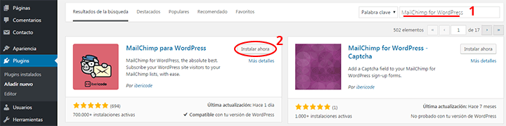 instalar plugins wordpress for mailchimp
