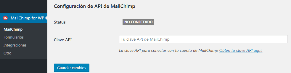 introducir api key en mailchimp for wordpress
