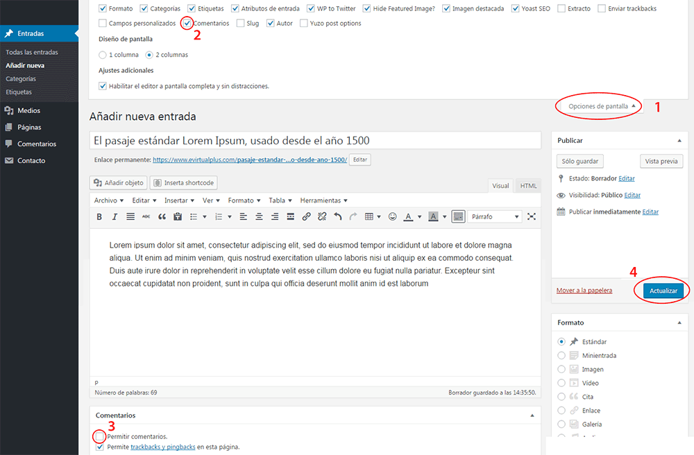 quitar comentarios de entradas antiguas wordpress