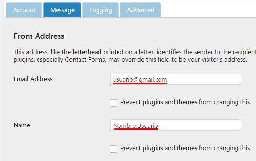 introducir email y usuario en postman smtp