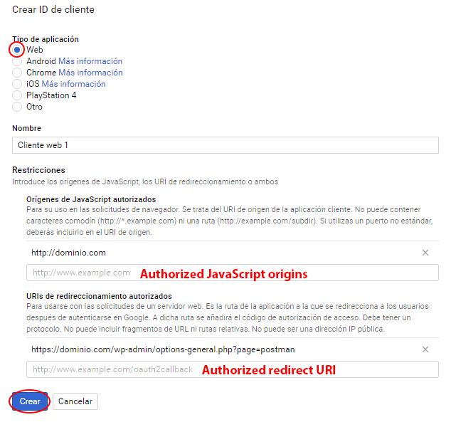 creación de la id de cliente de gmail api