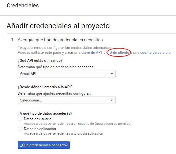 añadir credenciales a la gmail api