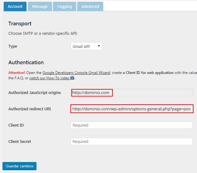 información necesaria de post smtp para gmail api