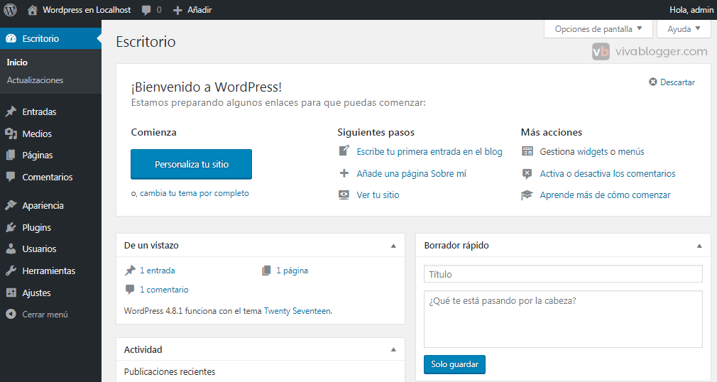 backend de wordpress
