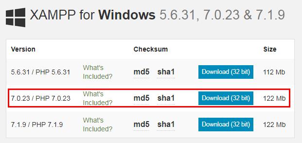 Seleccionar versión de Xampp a descargar