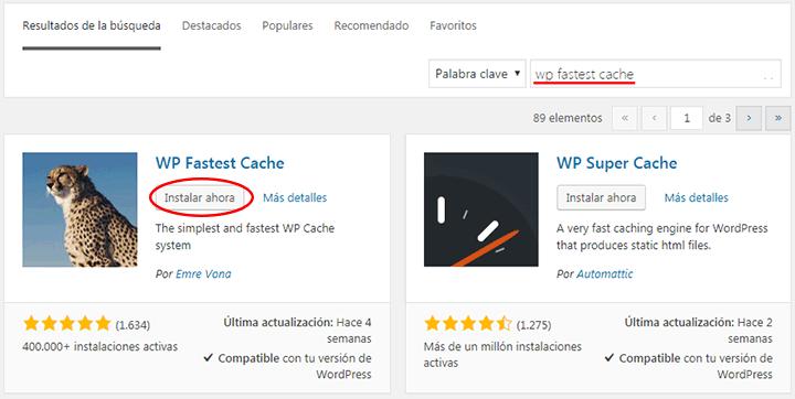 instalando wp fastest cache