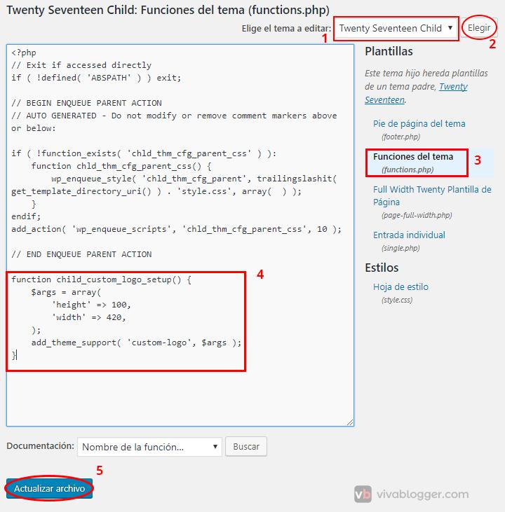 agregar código a functions.php en wordpress