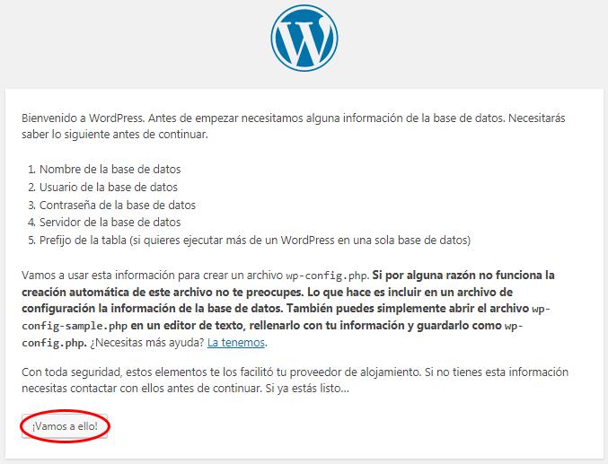 pantalla de introducción instalación wordpress