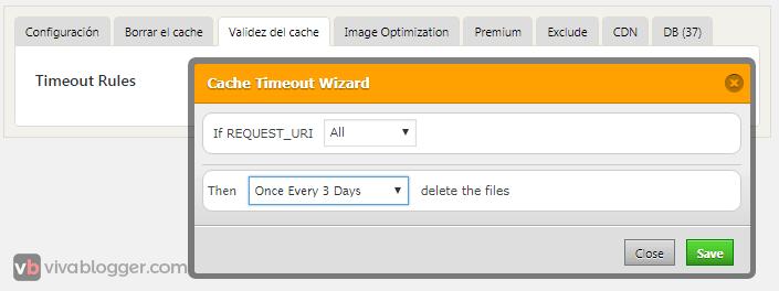 pestaña validez de cache wp fastest cache