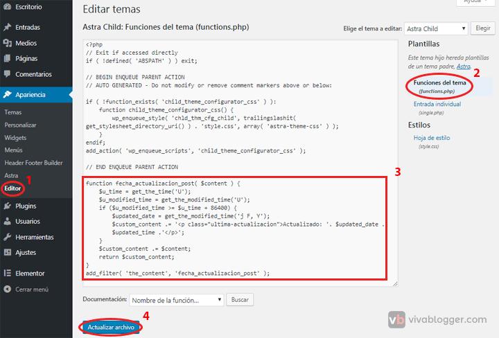 agregar fecha de modificación de entrada en wordpress en functions.php
