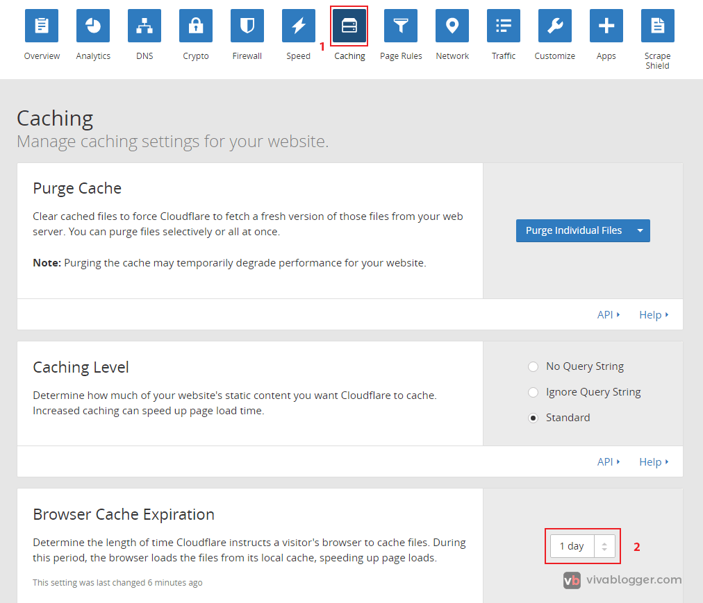 tiempo de expiración de cache en cloudflare