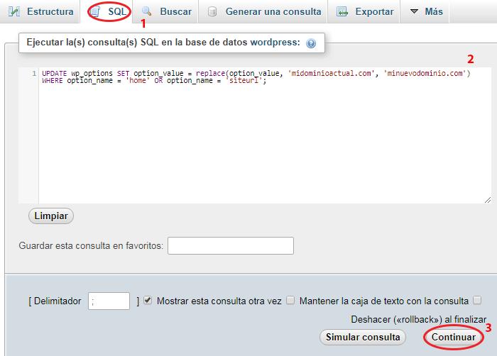 cambiar url en wordpress con phpmyadmin