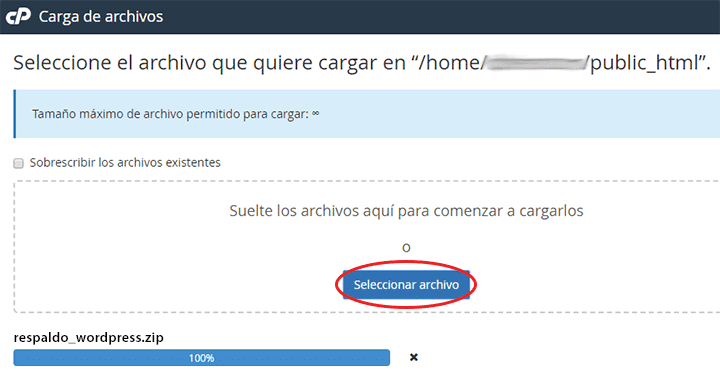 cargar el wordpress en el servidor con cpanel