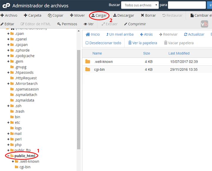 cargar archivos en cpanel