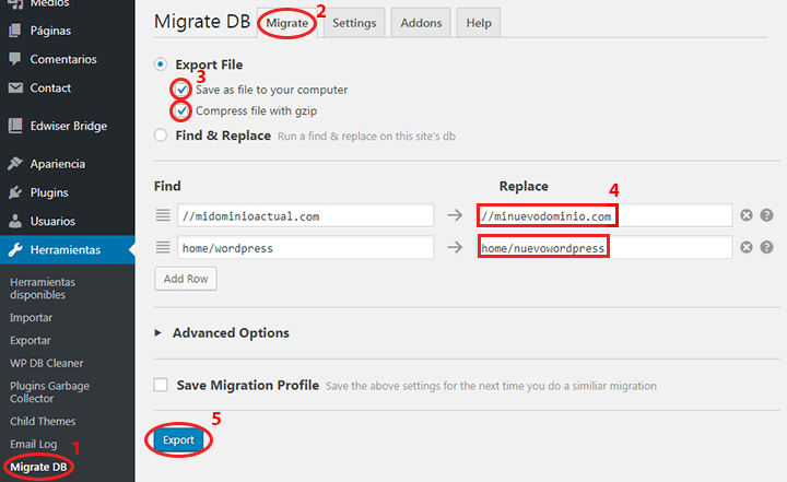 exportar base de datos de WordPress con wp migrate db