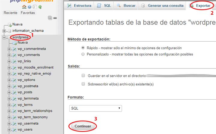 exportar base de datos en phpmyadmin al migrar wordpress