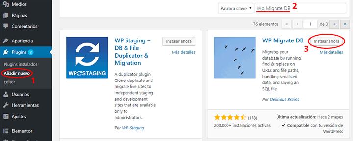 como instalar el plugin wp migrate db