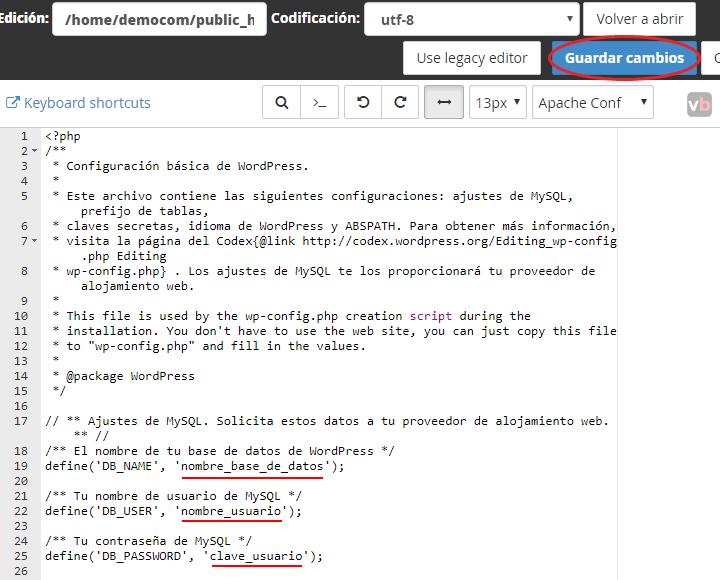 modificando wp-config.php con los nuevos parametros
