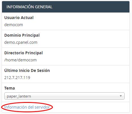 obtener información de ip del servidor