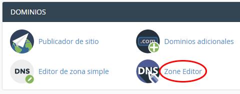 ubicación del editor de zona (registros DNS)