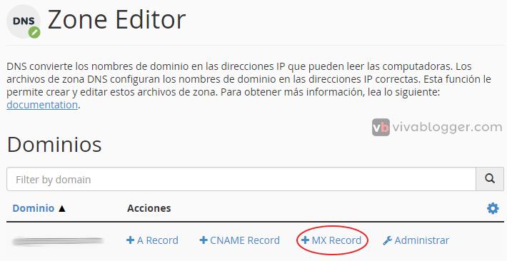 agregar mx record en zone editor cpanel