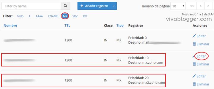 editar los registros mx en cpanel