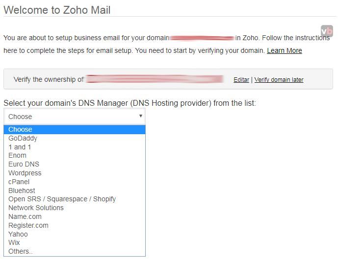 seleccionar hosting para configurar método de confirmación