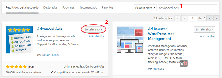 instalando el plugin Advanced Ads