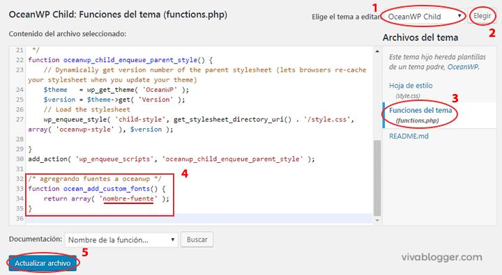 agregar código al functions.php