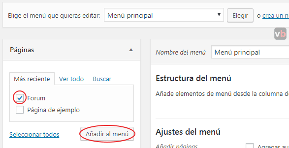 agregando paginas al menú en wordpress
