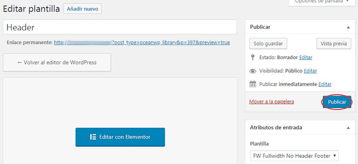 publicar pagina de header de elementor