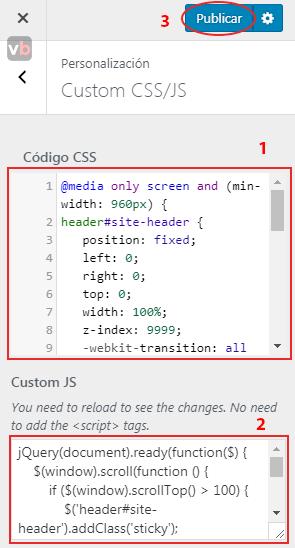 agregando código css y js para sticky bar en oceanwp