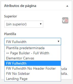 asignar plantillas de wordpress en atributos de pagina