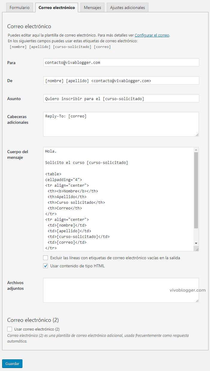 formulario con tabla para contact form 7