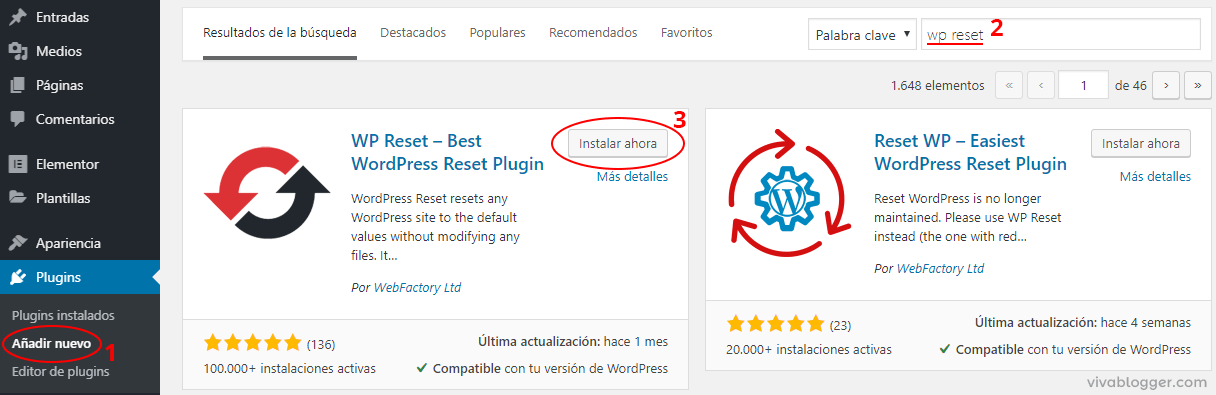 instalando wp reset en wordpress