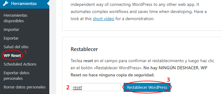 resetear wordpress con wp reset